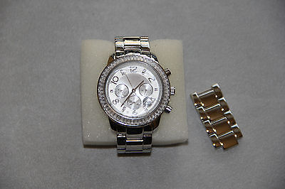 Silpada Finishing Touch Watch T2956 Stainless Steel and Cubic Zirconia