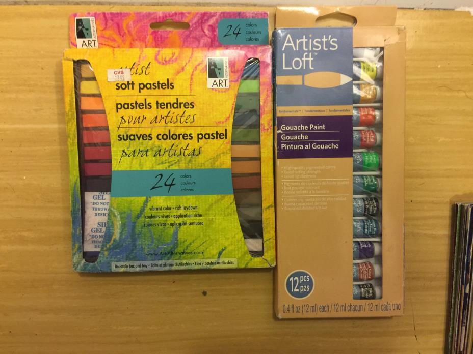 Artist 24 Soft Pastels Set plus Artist's Loft 12 Gouache Paint Set New