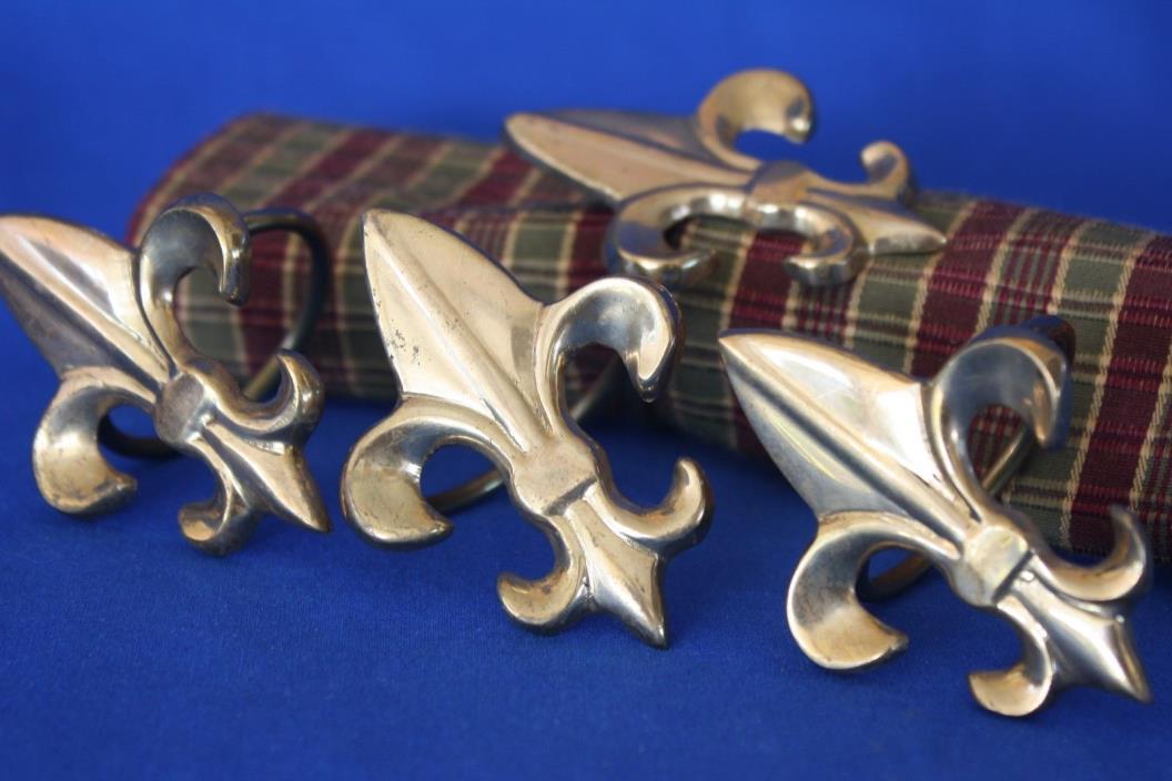 Fleur de Lis Napkin Rings Polished Brass Finish SET OF 4