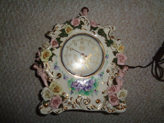 Mantel porcelain clock raised pink yellow roses cherubs cupids vintage heirlooms