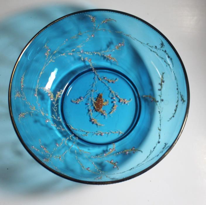Antique Czech Blue Glass Bowl Gold Enamel Insect Moser 8 7/8