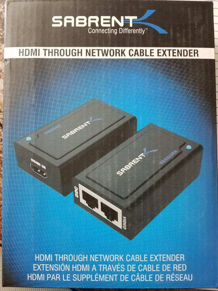 Sabrent HDMI Network Cable Extender Cat5e/Cat6 HDMI-EXTC 857161001748