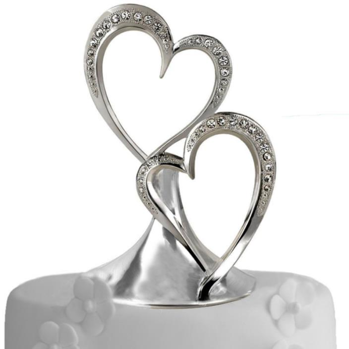 Sparkling Love Double Heart Silver-Plated Cake Top, 5-1/2-Inches Tall
