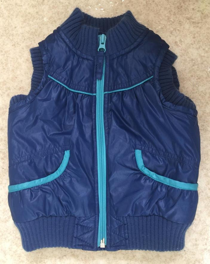 Old Navy Size 18-24 Mo. Blue Puffy Vest Zip-up Polyester Pockets Green Accents