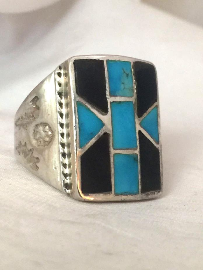 Vintage Sterling Silver Southwest Tribal Ring Turquoise Onyx Size 10.5 13.4g MEN