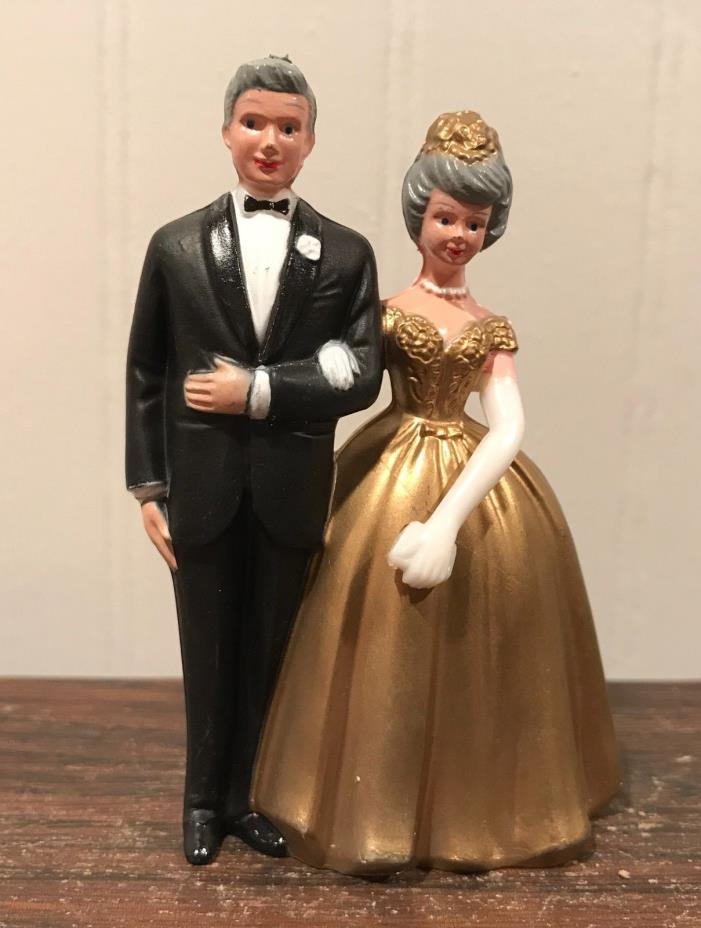 Vintage Wilton Anniversary Bride And Groom Gold Dress Tux Wedding Cake Topper