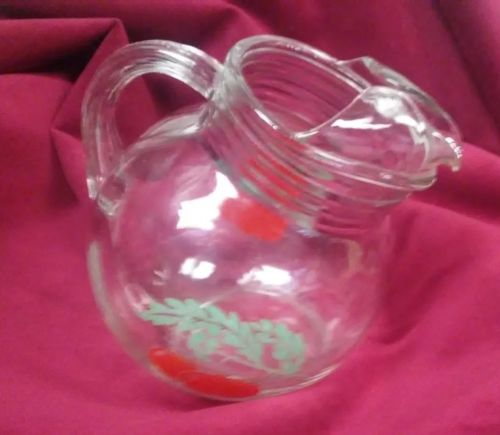 Vintage Breakfast Pitcher Tilt Ball Glass Juice Pitcher Red Tomato