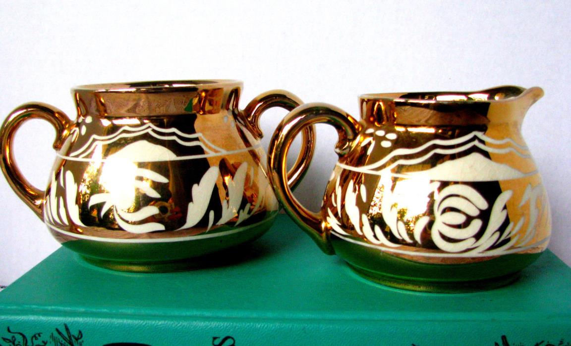 Gibsons Staffordshire Gold and White Creamer and Sugar Bowl, Art Deco Set