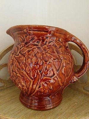 Early McCoy brown glazed Art Deco era grape pattern jug pitcher 1930's vintage