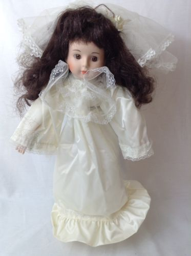 Collectible, Porcelain baby doll, In wedding dress, With stand, Used