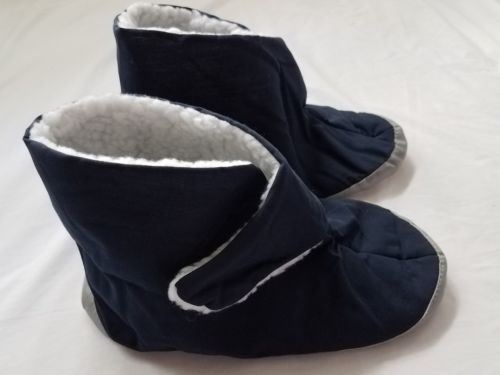 Care Apparel Unisex XL Blue Velcro Flat Cotton House Shoes Booties Slippers