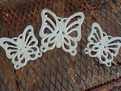 Vintage Butterfly Cast iron trivet decor  patina lot 3 Butterflies white Taiwan
