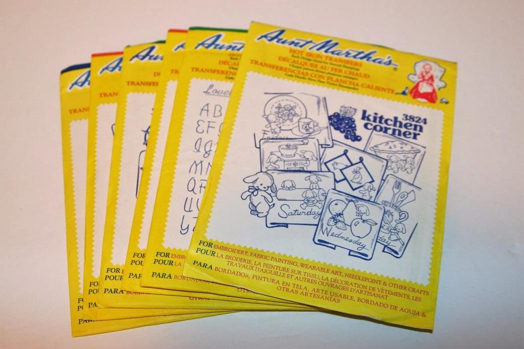 Aunt Martha's Hot Iron Transfers / Lot of 6 - Various / New, Unopened