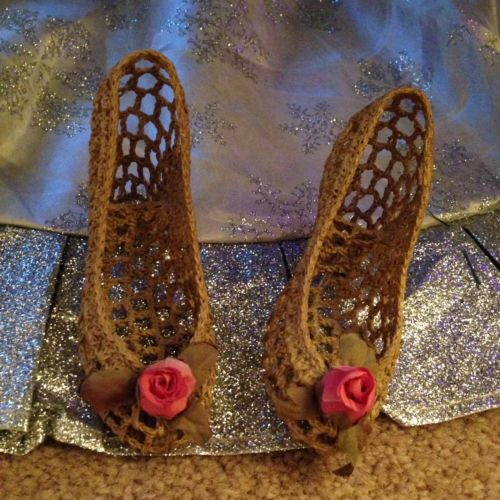 Two Miniature Starched Crocheted High Heel Shoes