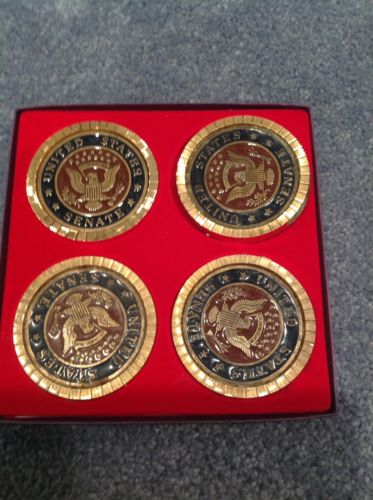 US Senate Gold Colored With Enamel Inlay Coasters