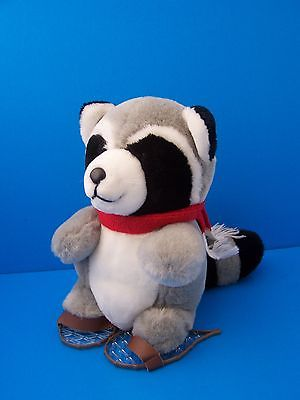 Vintage 1988 Dakin Raccoon wearing Snow Rackets 9.5