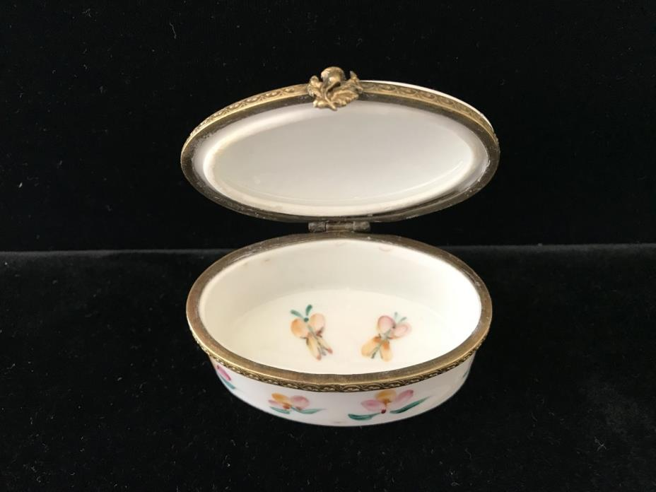 J.louis French Porcelain Pill Box, Hand Painted, Marked