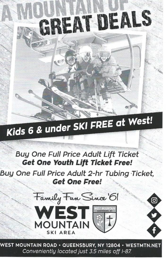 West Mountain NY Free Youth Ticket w adult ticket purchase NO BLACKOUT