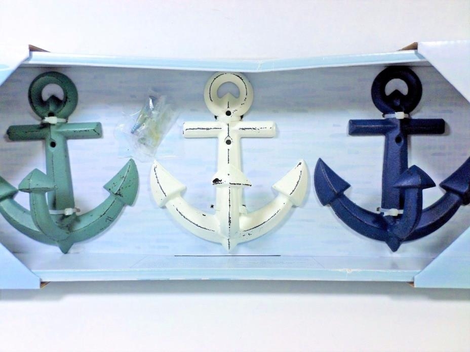 Belle Maison 3 metal anchors w/ hardware decorative wall hooks green white blue