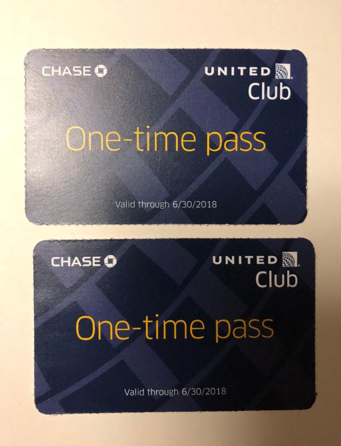 Two (2) United Club One-Time Passes - Valid Through 06/30/2018