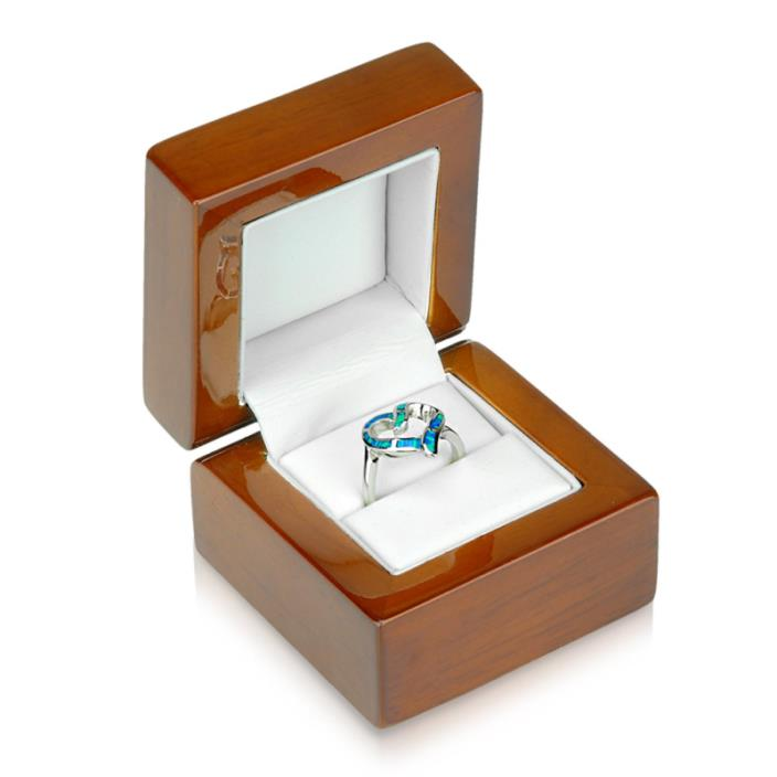 Geff House Walnut Wood Ring Jewelry Gift Box