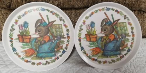 Lot of 2 Vintage SiLite Melamine Child's Peter Rabbit Watering Can Plate #3101.