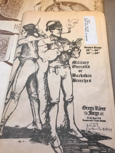 GREEN RIVER FORGE MILITARY overalls BUCKSKIN BREECHES PATTERN Rendezvous 30-39