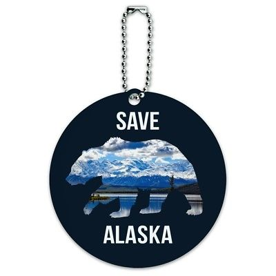 Save Alaska with Bear Mountains Water Round Luggage Card Carry-On ID Tag