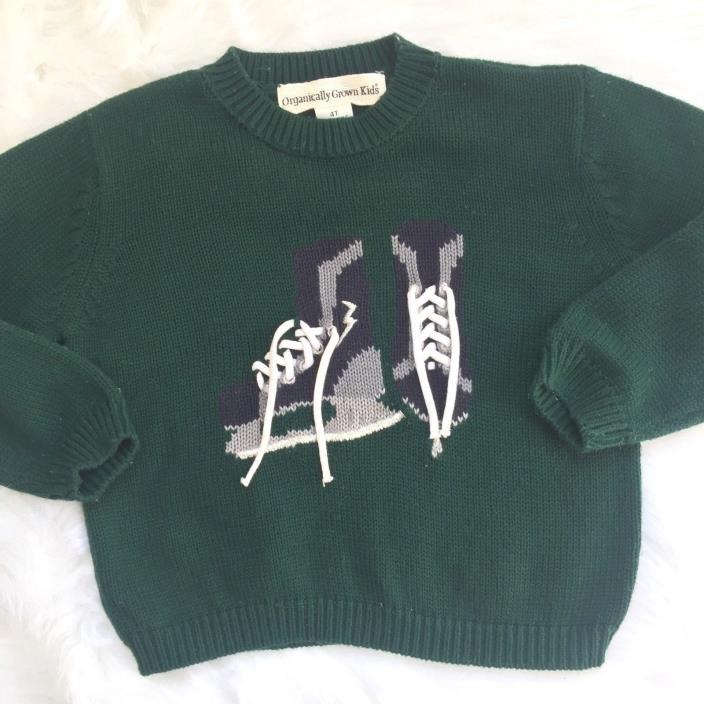 Organically Grown Kids Boy's Green Knit Sweater 4T Lace Up Ice Skate Long Sleeve