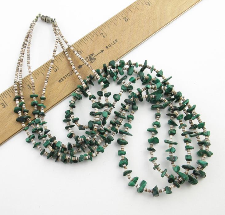 Vintage 3-Strand Southwestern Style Malachite and Shell Bead Necklace