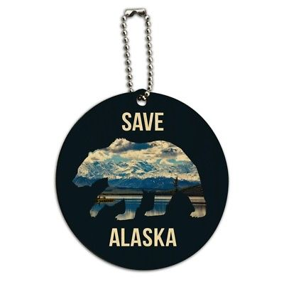 Save Alaska with Bear Mountains Water Round Wood Luggage Card Carry-On ID Tag