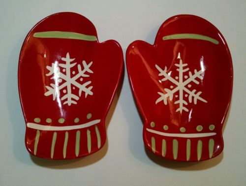WINTRY Hallmark Matching Pair Red Mitten Christmas Serving Dishes