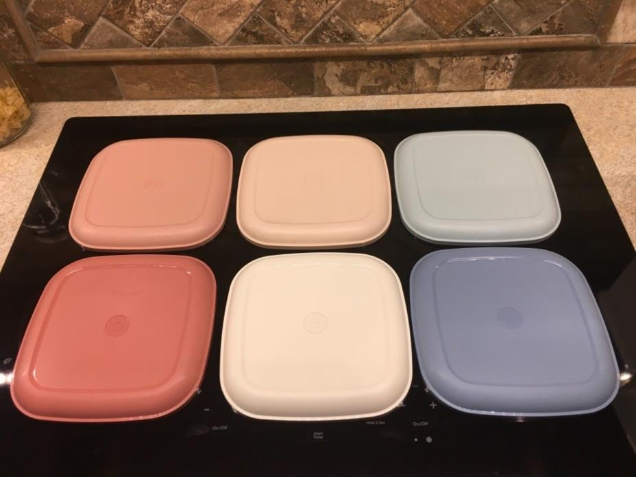 Lot of 6 Tupperware 1534 Pastel Square Snack Lunch Plates EUC & Vintage Tupperware Square Plates - For Sale Classifieds