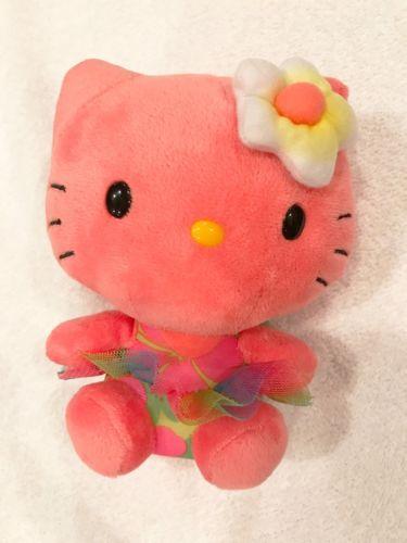 HELLO KITTY Sanrio Hawaii Rose TY Plush 6