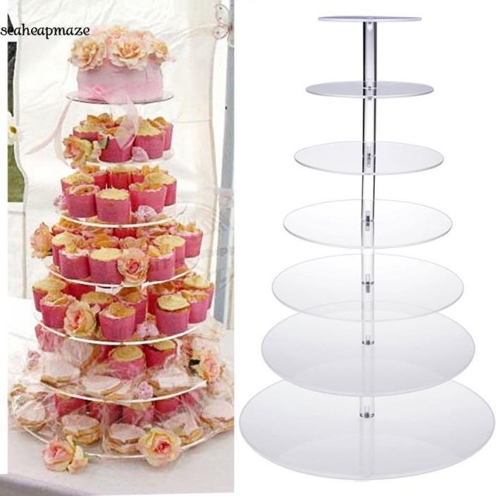 Hot 7 Tier Clear Round Cake Holder Dessert Stand Rack Wedding Birthday Display