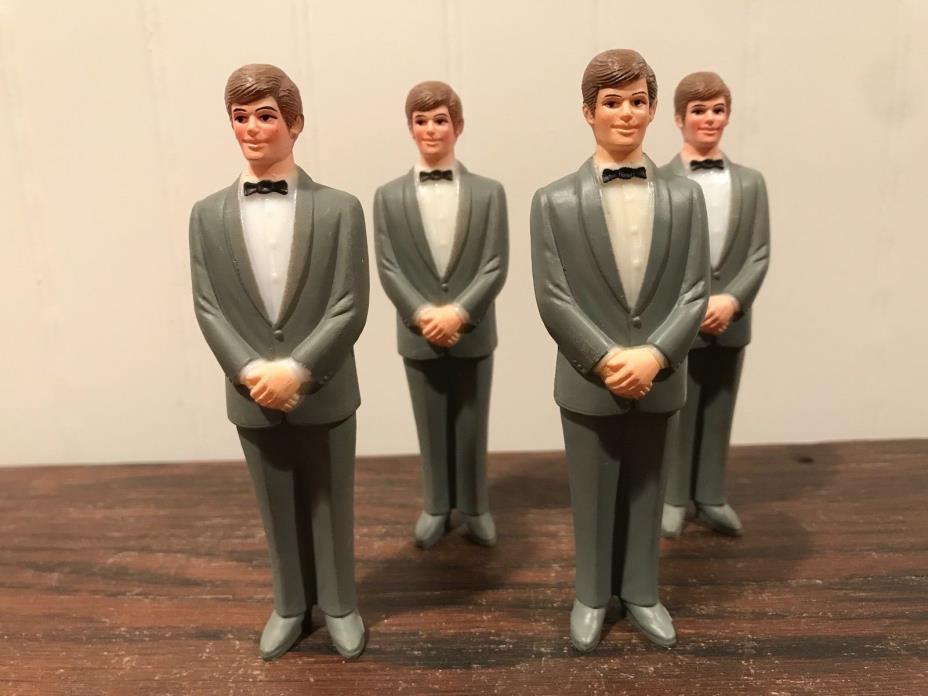 4 Vintage Wedding Groomsmen Groom Gray Tux Cake Topper Decorations Lot# 34