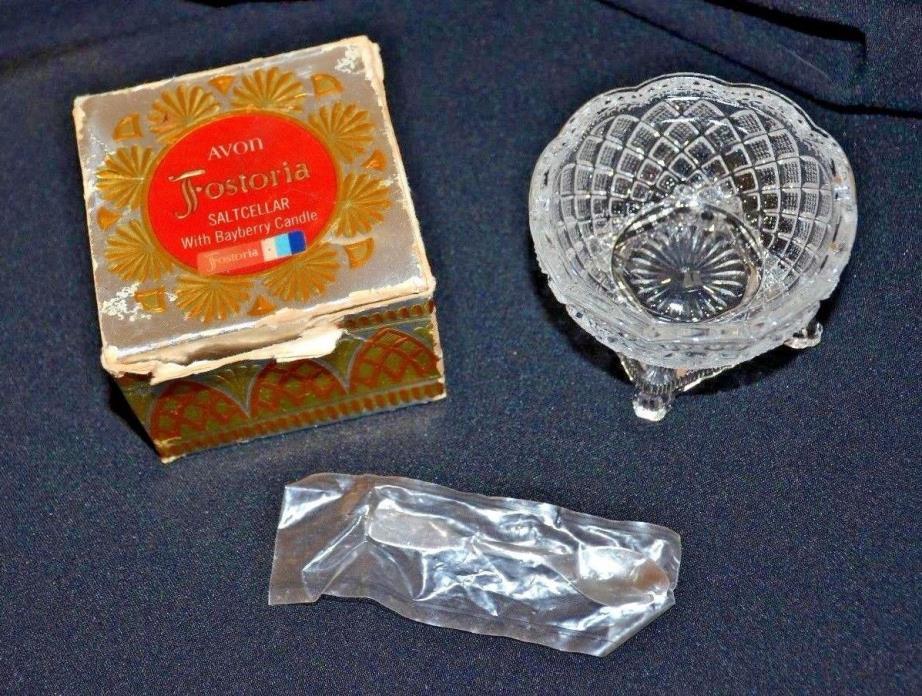 VTG Avon Fostoria Strawberry Diamond Glass Salt Cellar Candle Holder