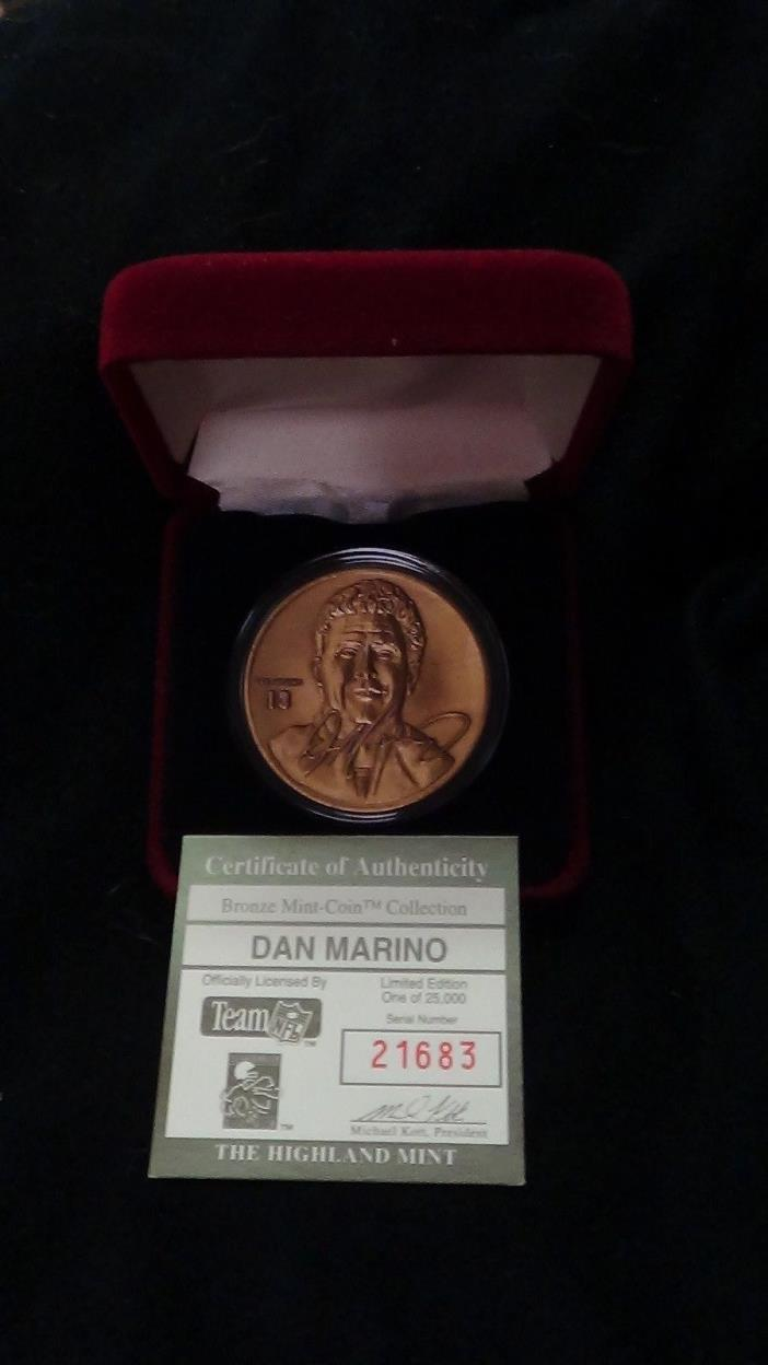 The Highland Mint DAN MARINO   Bronze Mint-Coin with COA
