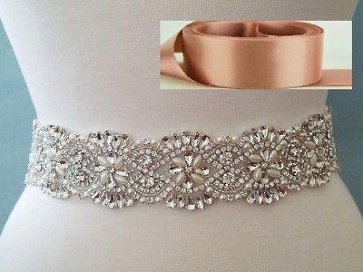 18 INCH LONG Crystal Pearl Wedding Dress Sash Belt = ANTIQUE MAUVE