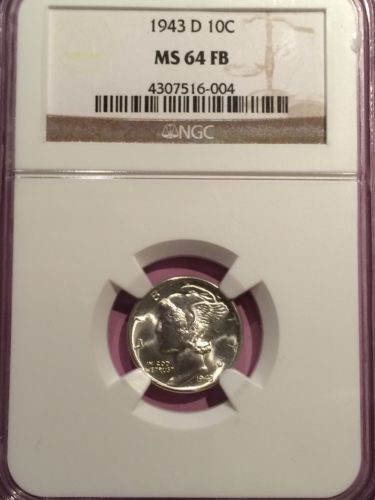 1943 D 90% Silver Mercury Dime NGC MS64FB FULL BANDS