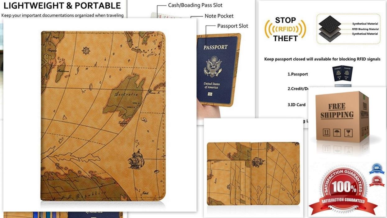 Leather Passport Wallet RFID Blocking Case Credit Card ID Holder Travel Cover