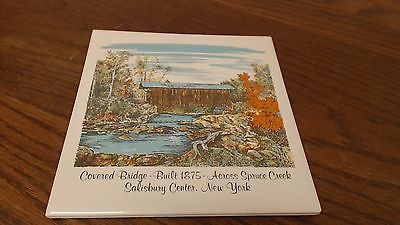 Covered Bridge Built 1875 across Spruce Creek Tile Trivet VINTAGE   #10