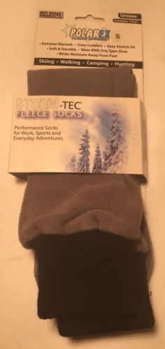 Storm -Tec Fleece Socks Unisex Size Small Color Gray W/ Black Cuff
