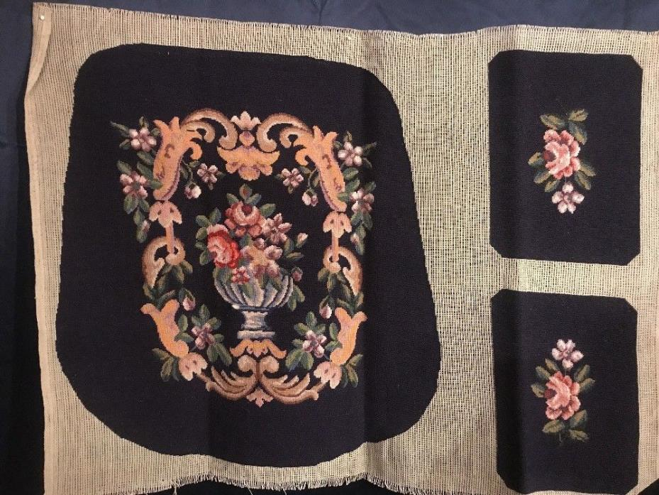 FAB! Mid 20th.c Wool Needlepoint on Canvas Armchair Seat & Handle Cover Navy