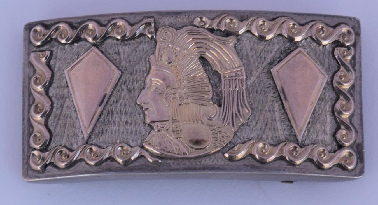 Vintage Reveriano Castillo Sterling Silver 14k Gold Mexico Heavy belt buckle