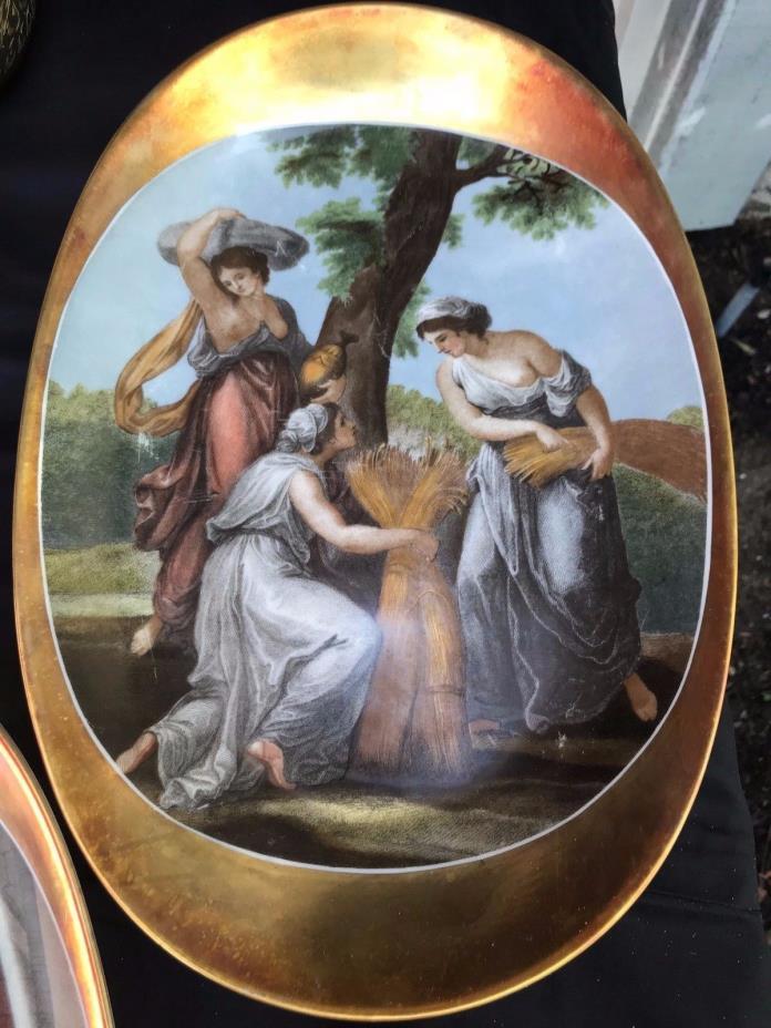 Joseph Kuba Werkstatte  (JKW) Vintage Fine Porcelain Oval Platter, 22k Gold Trim