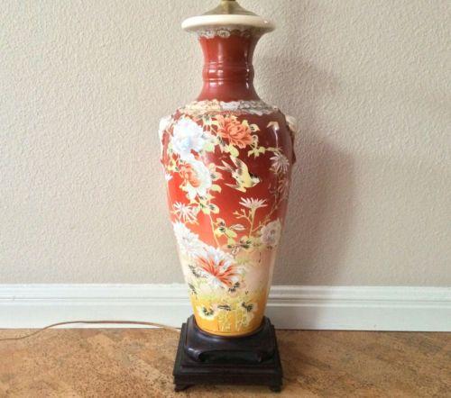 Fine Antique Satsuma Pottery Vase Lamp, Floral Bird Decor, 1920s-30s Japan
