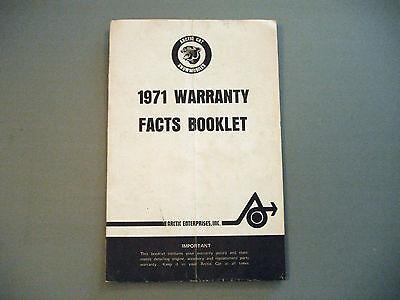1971 Vintage Arctic Cat Snowmobile Warranty Book 650/793/800 King Kat, EXT, MOD