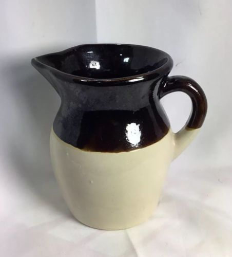 RRP Robinson  Art Pottery Roseville water  Pitcher Tan and Brown USA vintage
