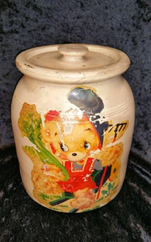 ANTIQUE STONEWARE CROCK WITH LID *HAS APPLIED BEAR DECORATION*
